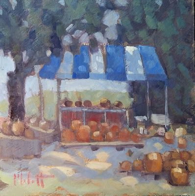 Contemporary Impressionism Pumpkin Picking Art Original Oil Painting