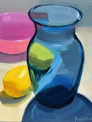 Blue Vase, Lemons and Pink Bowl