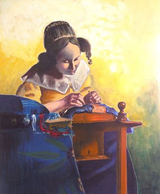 The Lacemaker, 16x20 Gouache Painting, after Vermeer