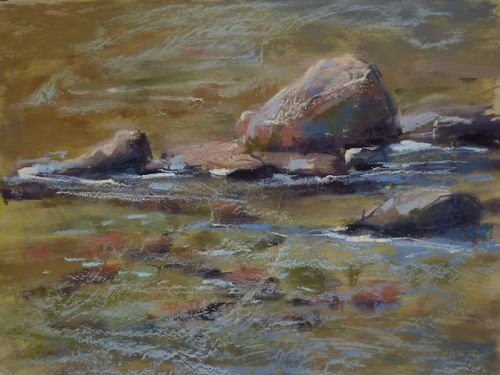 How to Paint Rocks and Water in Pastel