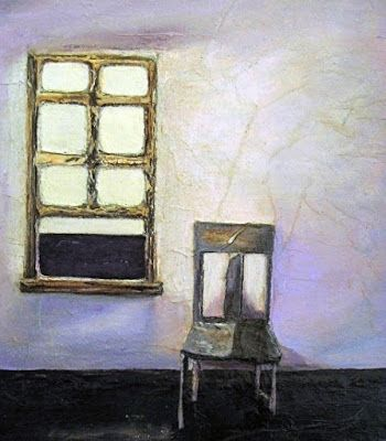 """Mixed Media Painting """"Waiting"""" by California Artist Cecelia Catherine Rappaport"""