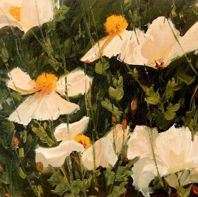 """White Cloud Poppies"" plein air poppy painting by Robin Weiss"