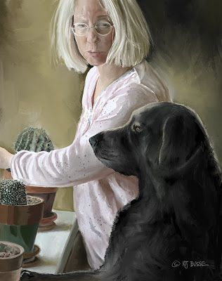 """Portrait Art, Digital Painting, Vermeer Style """"The Artist and Her Dog"""" by Colorado Artist Nancee Jean Busse"""