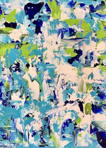 "Abstract Expressionist Palette Knife Art Painting ""Bladeworks 156-Coastal Abstract"" by International Abstract Artist Kimberly Conrad"