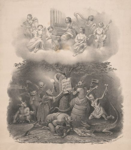 James Fuller Queen:  P.S Duval and Son - Angels playing music in heaven, harpies playing music in Hell, 1857-67