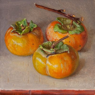 Persimmons painting original still life contemporary realism daily painting a day
