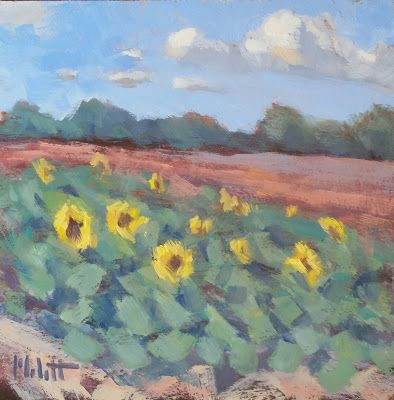 Sunflower Field Oil Painting Original Art Heidi Malott