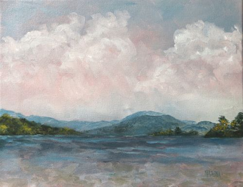 LAKESIDE~Original Oil Painting of Lake George, NY by Marina Petro