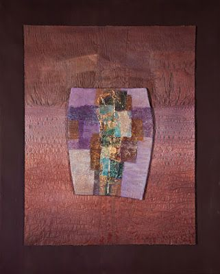 "Mixed Media, Contemporary Fiber Art ""ANCIENT LIGHT"" by Contemporary Artist Gerri Calpin"