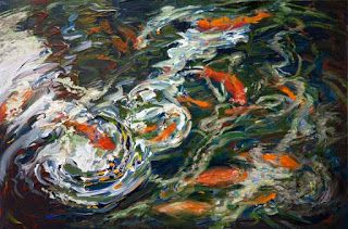 """New """"Wait for Me"""" Palette Knife Koi Fish Painting by Niki Gulley"""