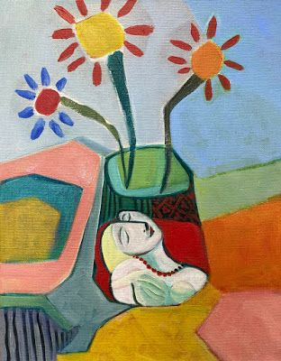 "Contemporary Abstract Bold Expressive Still Life Flower Art, Tribute to Picasso Painting ""Les Fleurs"" by Santa Fe Artist Annie O'Brien Gonzales"
