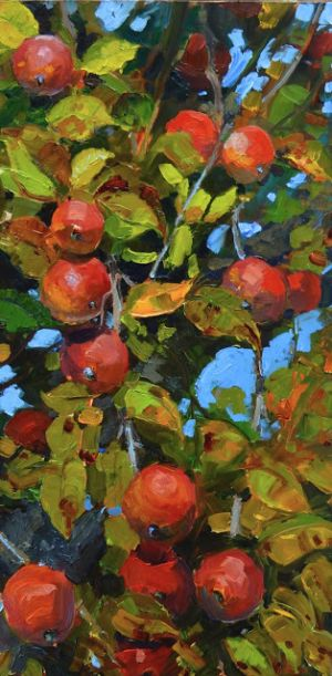 """""""Field Apples"""" plein air, apple painting by Robin Weiss"""
