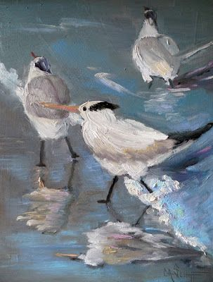 Coastal Wall Decor, Small Oil Painting, Daily Painting, Surf N Terns,Beach Birds Art, 8x10