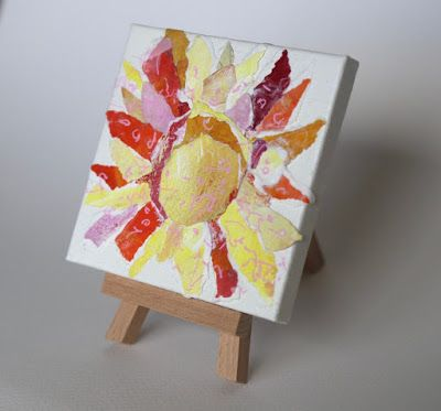 "Textural Collage, Sun, Paper Art, Mixed Media ""PAPER SUNSHINE"