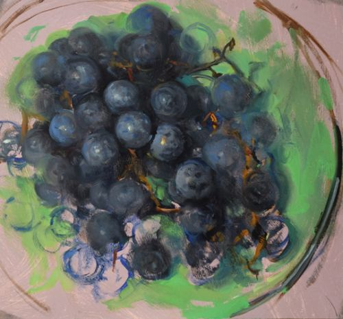 Grapes in a Green Bowl