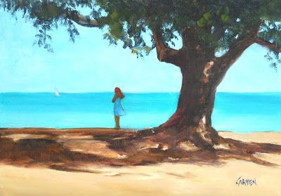 """Oil Painting, """"Anna Maria Reverie,"""" 5x7 Oil on Canvas Daily Painting"""