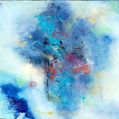 "Contemporary Abstract Expressionist Fine Art Painting, Blue Painting ""Finding Light"" by Contemporary Expressionist Pamela Fowler Lordi"