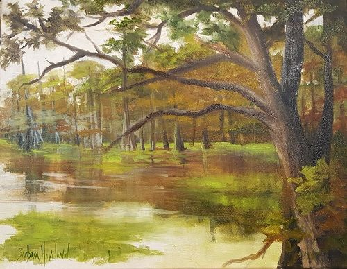 Steinhagen Lake, Dam B, Landscape, OIls, Barbara Haviland