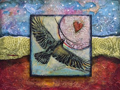 """Abstract Art, Contemporary Mixed Media Painting """"THE GIFT OF THE RAVEN"""" by Santa Fe Contemporary Artist Sandra Duran Wilson"""