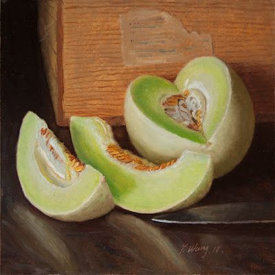 Honeydew melon still life oil painting original contemporary realism