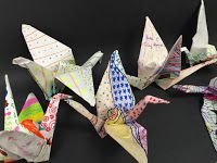 Origami Paper Crane on Decorated Paper