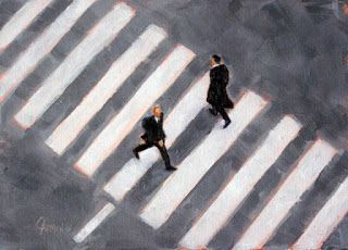Paris Crosswalk, 5x7 Oil on Panel, Daily Painting, France