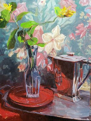 """""""Trumpet Flowers with Silver"""" Still life painting by Robin Weiss"""