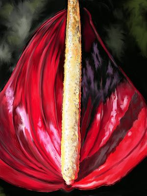 "Botanical Art, Nature, Still Life, Contemporary Digital Art ""Anthurium 2"" by Colorado Artist Nancee Jean Busse"