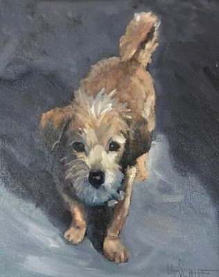 Dog Painting, Pet Painting, Daily Painting, Small Oil Painting, 8x10