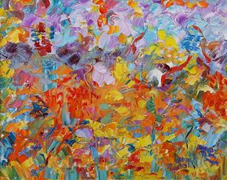 """Original Palette Knife Flower Painting """"Breath of Summer"""" by Colorado Impressionist Judith Babcock"""