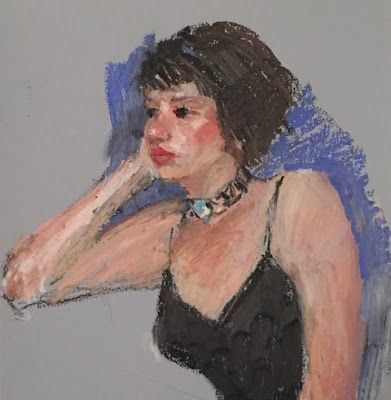 """Black Dress"" - oil pastel drawing of the model"