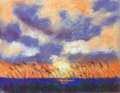 """Contemporary Seascape at Sunrise, """"Sea Oats and Sunrise,"""" by Amy Whitehouse"""