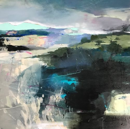 """Abstract Landscape Painting, Contemporary Art,Mixed Media """"Verdant Promise"""" by Intuitive Artist Joan Fullerton"""