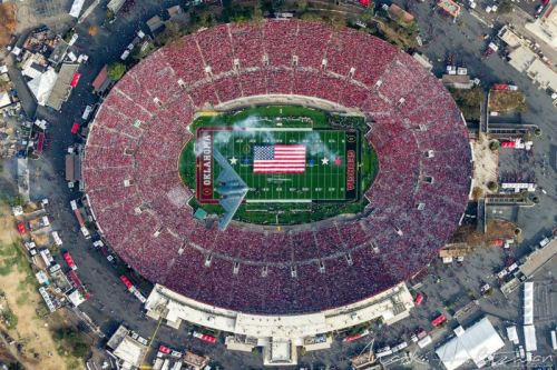 How to Photograph a Stealth Bomber Over a Stadium. From Above