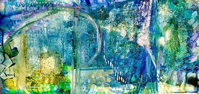 "Contemporary Abstract Painting,Blue Art, Alcohol Ink ""DILLINGHAM BOULEVARD - HAWAII SERIES"" by New Orleans Artist Lou Jordan"