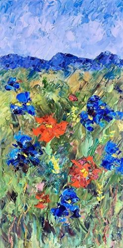 """Palette Knife Colorado Landscape Painting """"Flowers on the Trail"""" by Judith Babcock Colorado Artist"""