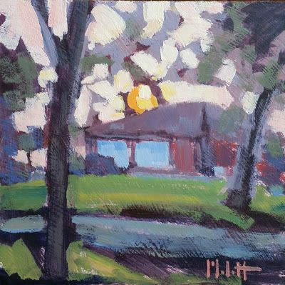 Abstract Art Suburban Sunset Original Oil Painting Heidi Malott