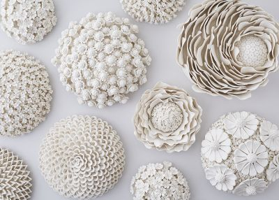 Ornate Ceramic Vessels Encased in Porcelain Flowers by Artist Vanessa Hogge
