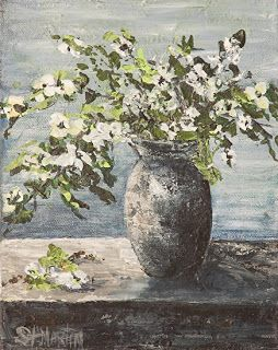 "Original Still Life Flower Painting, Dogwood Flower Art ""Dogwood Stems"" by Florida Impressionism Artist Annie St Martin"