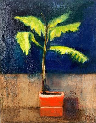"""Still Life Oil Painting, Botanical Painting, """"Sunlit Palm"""" by California Artist Cecelia Catherine Rappaport"""