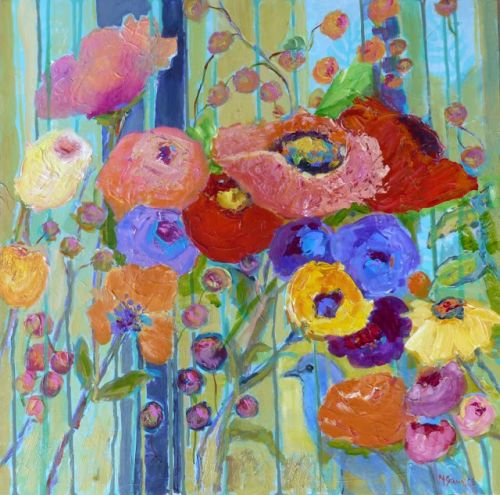 Acrylic Mixed Media Painting, Floral, One for the Stars by Texas Artist Nancy Standlee