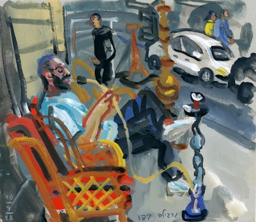 Gouache, narghile and stories in Jaffa