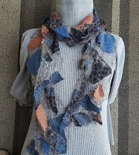 "Scarf, Wearable Art Artful Apparel, ""SHARDS PROMINENCE SCARF-EARTHLY BEAUTY"" by Colorado Artist and Designer Gerri Calpin"