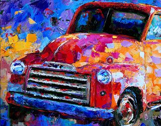 "Old Truck Painting,Vintage Truck Art,""Old GMC Truck"" by Texas Artist Debra Hurd"