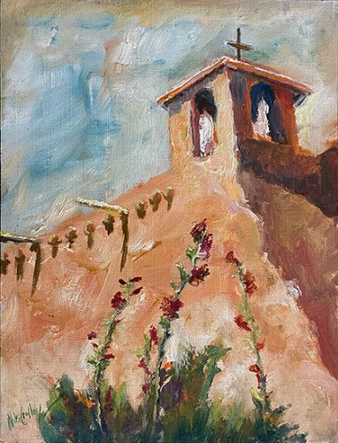 Rancho de Taos Oil Painting by Contemporary Impressionist Niki Gulley