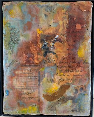 "Encaustic Abstract Art, Mixed Media, Contemporary Painting, ""DIEM"" by Texas Contemporary Artist Sharon Whisnand"