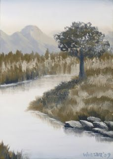 Mark Webster - Grayscape 7 - Landscape Oil Painting