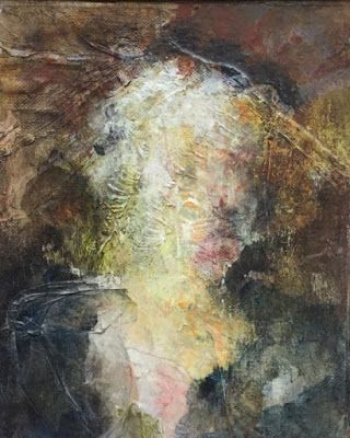"Abstract Mixed Media Art Painting ""Woman in Hat"" by Cecelia Catherine Rappaport"