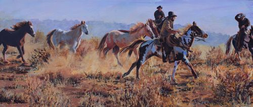 "Western Art, Mc Elmo Canyon, Cowboys and Horses, Equine, Western Landscape Painting ""SUNRISE ROUNDUP"
