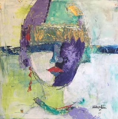 "Contemporary Art, Expressionist Portrait, Fine Art Painting ""FASHION FORWARD"" by Oklahoma Artist Nancy Junkin"